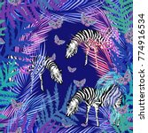 colorful pattern with zebra ... | Shutterstock .eps vector #774916534