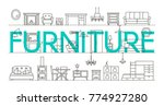 furniture banner. home interior ... | Shutterstock .eps vector #774927280