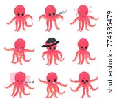 set of little pink octopus... | Shutterstock .eps vector #774935479