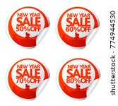new year sale stickers 50 60 70 ... | Shutterstock .eps vector #774944530