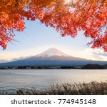 fuji mountain with red leave...   Shutterstock . vector #774945148