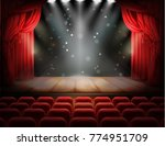 open red curtain and empty... | Shutterstock .eps vector #774951709