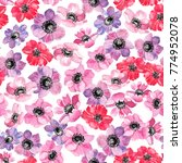 floral seamless pattern with... | Shutterstock . vector #774952078