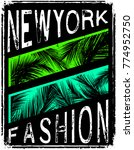 new york typography with floral ... | Shutterstock .eps vector #774952750