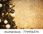 gold christmas background of de ... | Shutterstock . vector #774956374