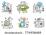 set of outline icons of... | Shutterstock .eps vector #774958489