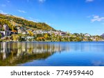 lake side view of famous winter ...   Shutterstock . vector #774959440