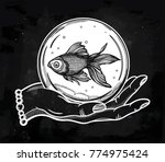 traditional tattoo flash hand... | Shutterstock .eps vector #774975424