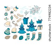 blue collection of christmas... | Shutterstock .eps vector #774982234
