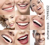 teeth collage of people smiles - stock photo