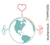 long distance relationship and... | Shutterstock .eps vector #774995350