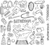 bathroom hand drawn doodles.... | Shutterstock .eps vector #775000360