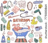 bathroom hand drawn colorful... | Shutterstock .eps vector #775000864