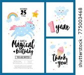 magical birthday cards set with ... | Shutterstock .eps vector #775003468