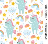 seamless pattern with cute... | Shutterstock .eps vector #775003486