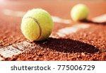 tennis game. tennis ball on the ... | Shutterstock . vector #775006729