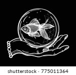 traditional tattoo flash hand... | Shutterstock .eps vector #775011364