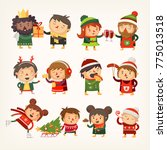 set of christmas characters at... | Shutterstock .eps vector #775013518