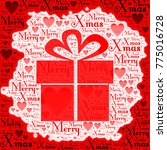 merry xmas words with gift box... | Shutterstock . vector #775016728