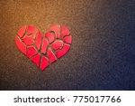 Paper Red Broken Heart On Dark...