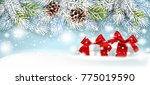 christmas card with gifts on a... | Shutterstock .eps vector #775019590
