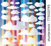 set of funny cartoon clouds ...