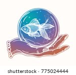 traditional tattoo flash hand... | Shutterstock .eps vector #775024444