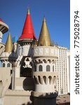 Small photo of LAS VEGAS, USA – June 30, 2017: The colorful Turrets, crenellated Battlements and Towers of the Excalibur Hotel. Its a Casino and Resort on the famous Las Vegas Strip. Nevada. USA
