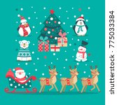 christmas set with santa in... | Shutterstock .eps vector #775033384