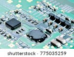 integrated microchip on green... | Shutterstock . vector #775035259