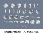 silver coins set isolated in...