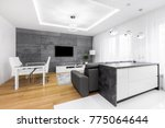 open living room with dining... | Shutterstock . vector #775064644