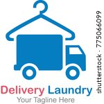 delivery laundry logo template | Shutterstock .eps vector #775066099