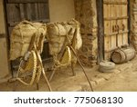 traditional woven grass bag on... | Shutterstock . vector #775068130