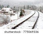 Railway In Snow. Winter...