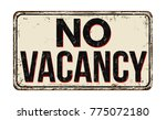no vacancy vintage rusty metal... | Shutterstock .eps vector #775072180