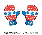 red blue winter gloves or... | Shutterstock .eps vector #775072444