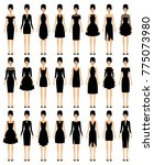 set of little black dresses.... | Shutterstock .eps vector #775073980
