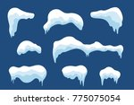 snow ice icicle set winter... | Shutterstock . vector #775075054