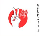 hand peace sign vector... | Shutterstock .eps vector #775078189