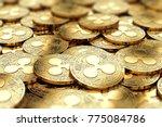 stack of golden ripple xrp... | Shutterstock . vector #775084786