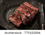 freshly prepared beef sirloin... | Shutterstock . vector #775102006
