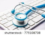 stethoscope on the computer   Shutterstock . vector #775108738