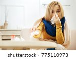blocked nose. ill young blond...   Shutterstock . vector #775110973