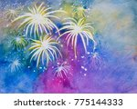 Colorful Fireworks In Happy...