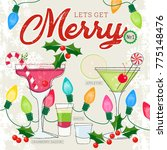 fun holiday cocktails daiquiri  ... | Shutterstock .eps vector #775148476