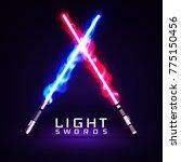 neon light swords. crossed... | Shutterstock .eps vector #775150456