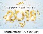 2018 happy new year. gold... | Shutterstock . vector #775154884