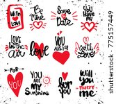 Stock vector set of love hand drawn quotes in vector love messages be mine for you save the date love is in 775157449