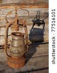 the old kerosene lamp on the... | Shutterstock . vector #77516101